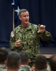 U.S. Navy Adm. William McRaven, commander of the U.S. Special Operations Command, speaks to special operations commanders during a commanderÕs call at King Auditorium on Hurlburt Field, Fla., Jan. 30, 2012. The admiral is the ninth commander of USSOCOM, headquartered at MacDill Air Force Base, Fla. (U.S. Air Force photo/Airman 1st Class Christopher Williams)(Released)