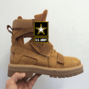 velcro boots and Army symbol