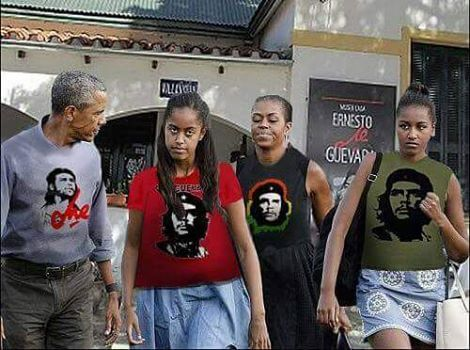 Image result for Obama and family wearing Che t shirts